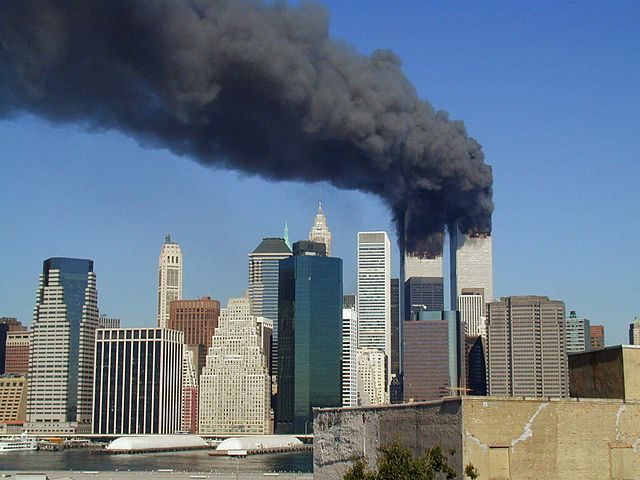 The World Trade Center on 9/11, by Flickr user Michael Foran